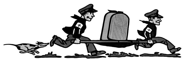 "Two ""medics"" carrying a radiator for repair."